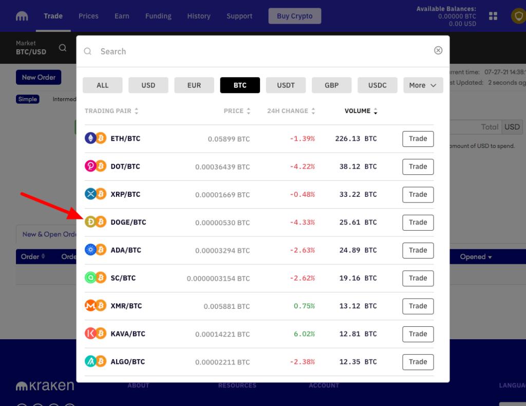 Buy dogecoin with bitcoin kraken